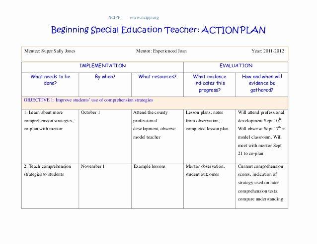 Sample Action Plan for Teachers Fresh Action Plan
