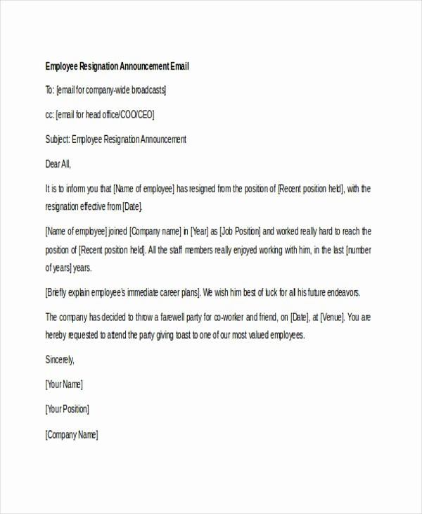 Sample Announcement Of Employee Leaving Elegant 21 Resignation Email Examples Doc