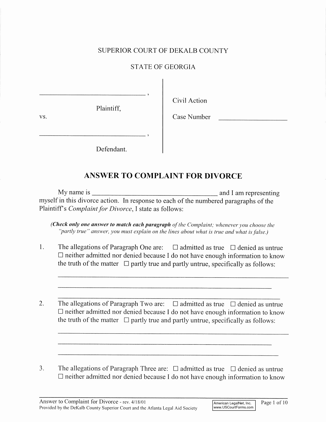 Sample Answer to Complaint Best Of Best S Of Georgia Divorce Petition Examples Free