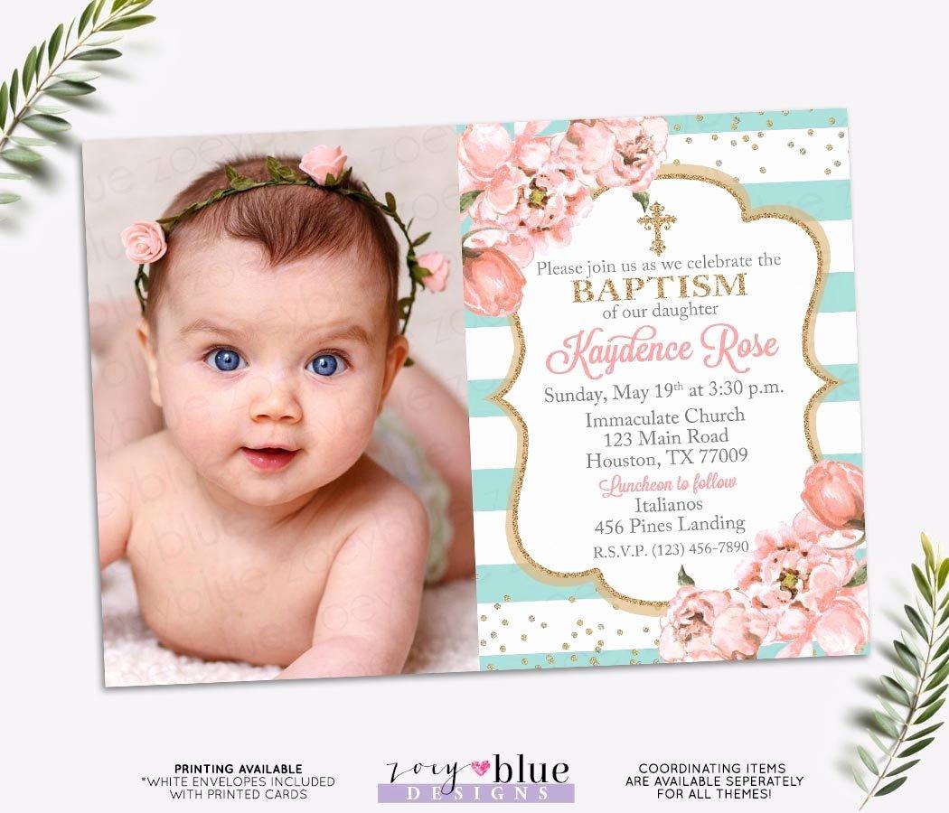Sample Baptismal Invitations Beautiful Girl Baptism Invitation Blush Pink and Turquoise Baptism