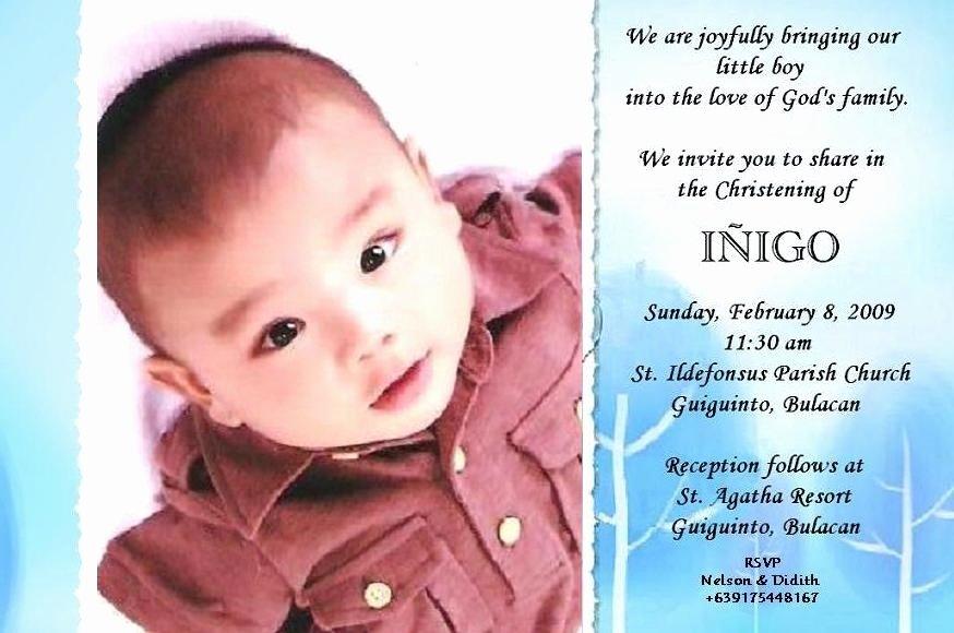 Sample Baptismal Invitations Lovely Christening Invitation Card