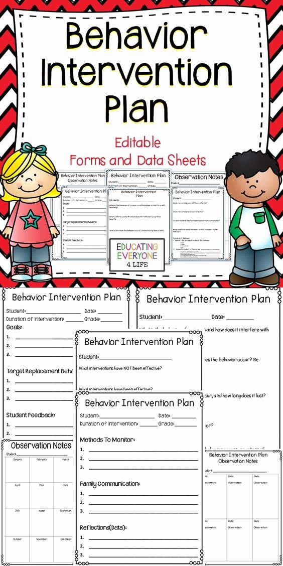 Sample Behavior Plan Awesome Behavior Intervention Plan Editable forms and Data Sheets