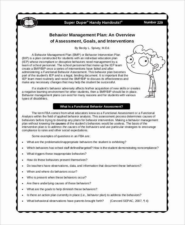 Sample Behavior Plan Beautiful 19 Management Samples