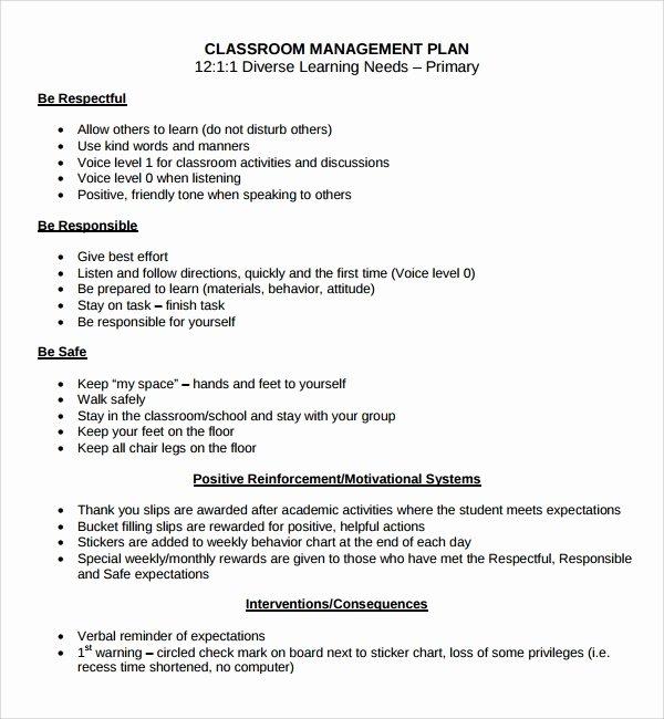 Sample Behavior Plan Fresh Sample Classroom Management Plan Template 9 Free