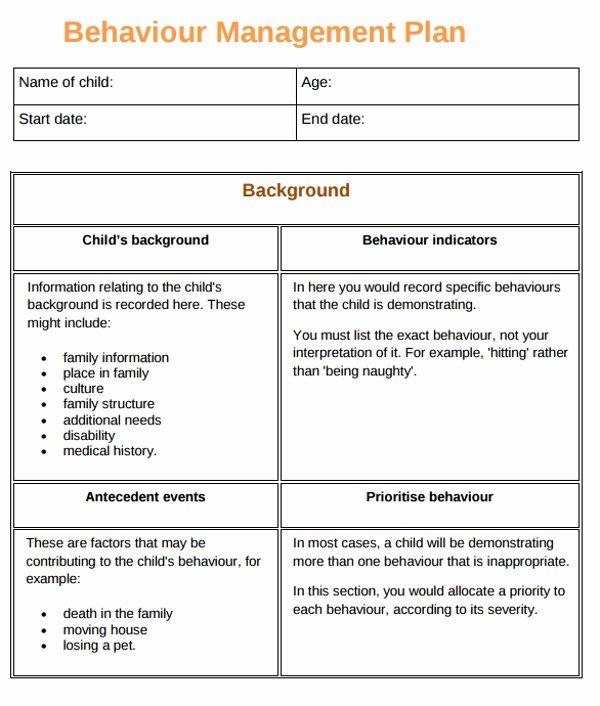 Sample Behavior Plan Luxury 10 Behaviour Management Plan Examples Pdf