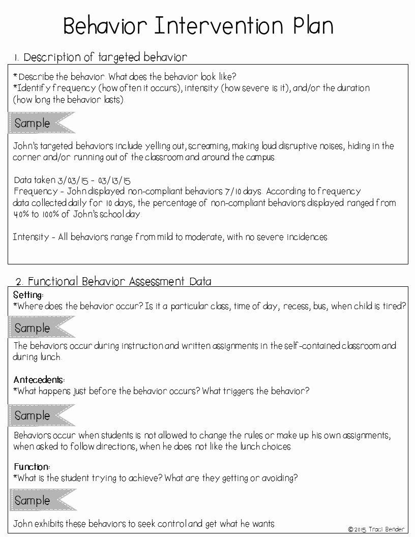 Sample Behavior Plan Luxury the Bender Bunch Creating A Behavior Intervention Plan Bip