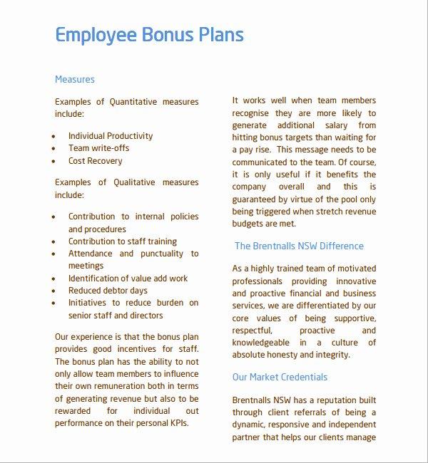 Sample Bonus Plan Document Awesome Employee Retention Bonus Agreement form Templates