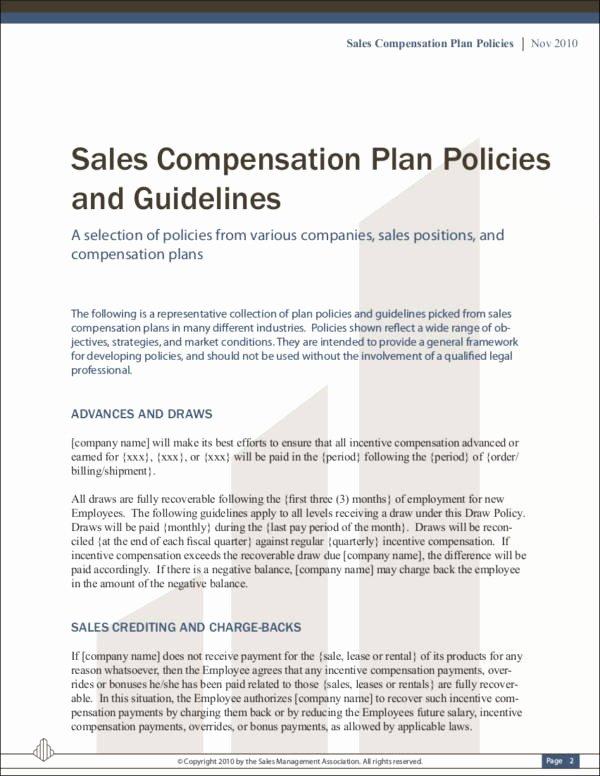 Sample Bonus Plan Document Beautiful 9 Sales Mission Policy Samples & Templates