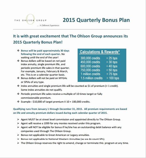 Sample Bonus Plan Document Elegant 7 Bonus Plan Templates