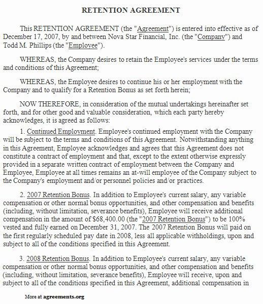 Sample Bonus Plan Document Fresh Retention Agreement Sample Retention Agreement Template