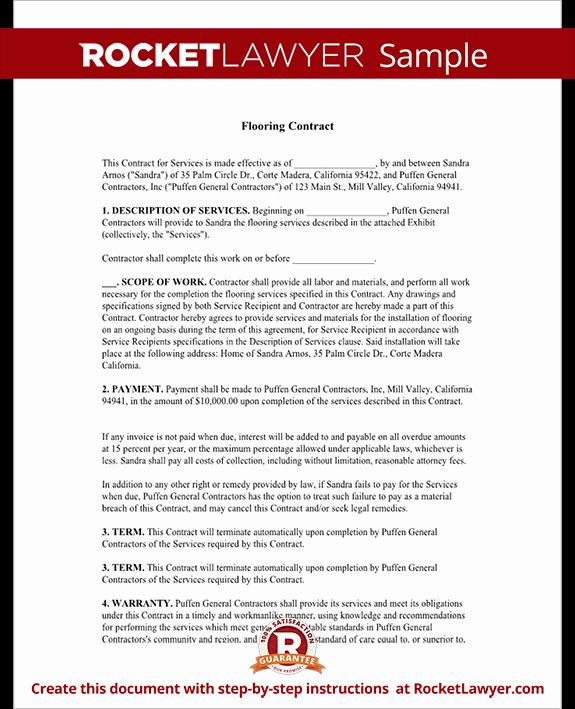 Sample Bonus Plan Document Inspirational Flooring Contract & Agreement with Sample