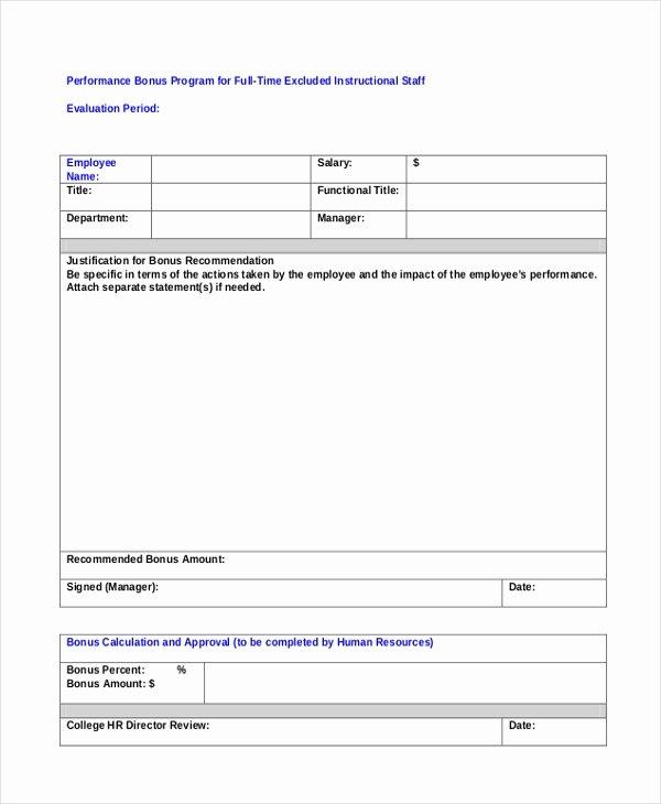 Sample Bonus Plan Document Lovely Sample Employee Appraisal form Free Documents In Pdf Doc