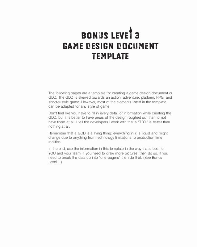 Sample Bonus Plan Document Luxury Game Design Doc Template