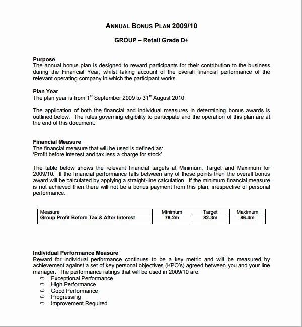 Sample Bonus Plan Document Unique 7 Bonus Plan Templates