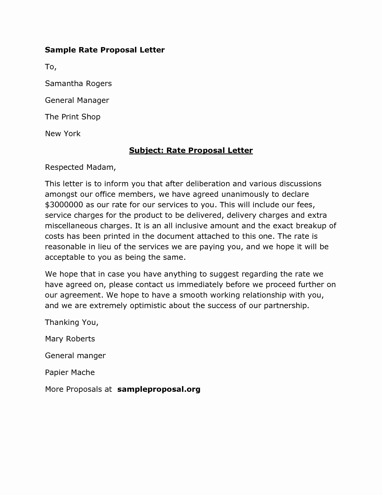Sample Business Proposal Letter for Partnership Awesome Download Rate Proposal Letter Sample Proposals by