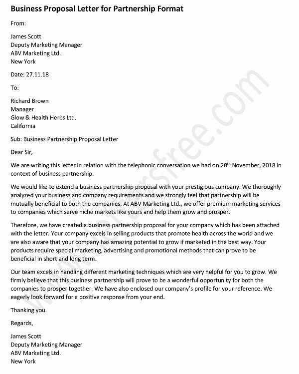 Sample Business Proposal Letter for Partnership Best Of Business Proposal Letter for Partnership Sample Business