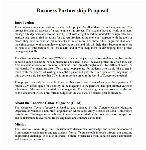 Sample Business Proposal Letter for Partnership New Sample Partnership Proposal 13 Documents In Pdf