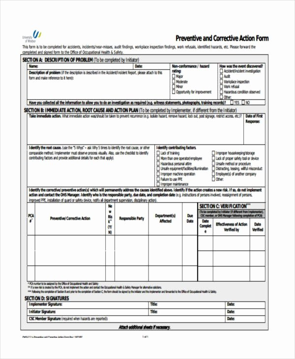 Sample Capa form Inspirational 6 Preventive Action form Sample Free Sample Example