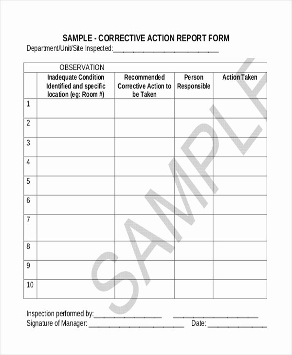 Sample Capa form Unique Sample Corrective Action form 10 Free Documents In Doc Pdf