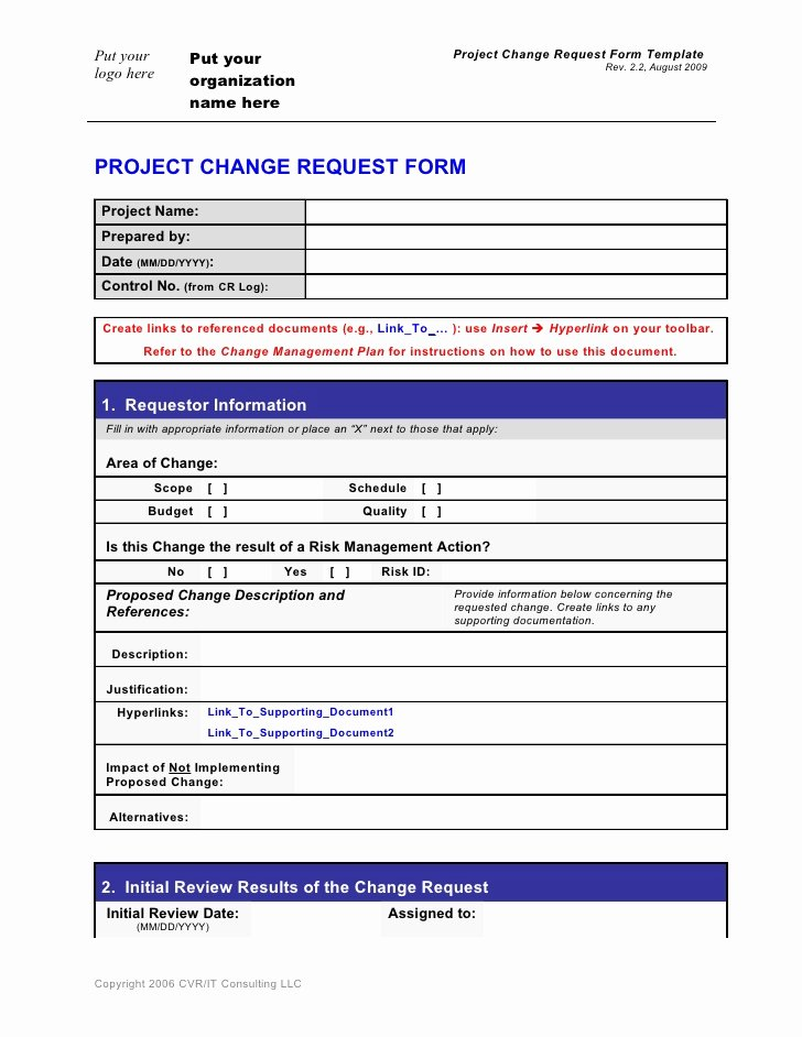 Sample Change Request form Best Of Change Request form Template