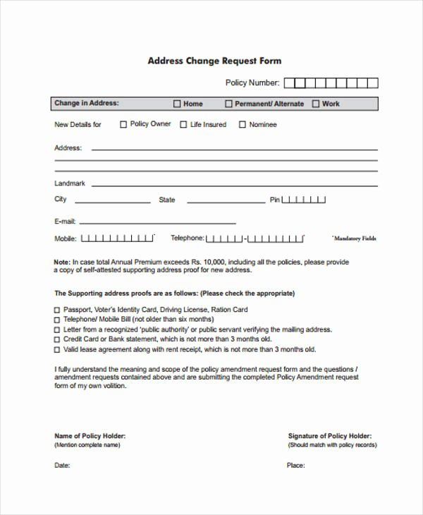 Sample Change Request form Elegant Free Change forms