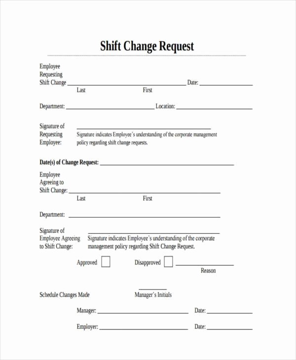 Sample Change Request form Inspirational Sample Employee Shift Change forms 7 Free Documents In