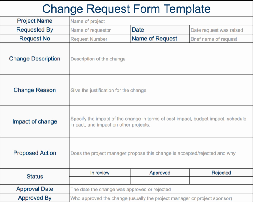Sample Change Request form Luxury Change Request Template