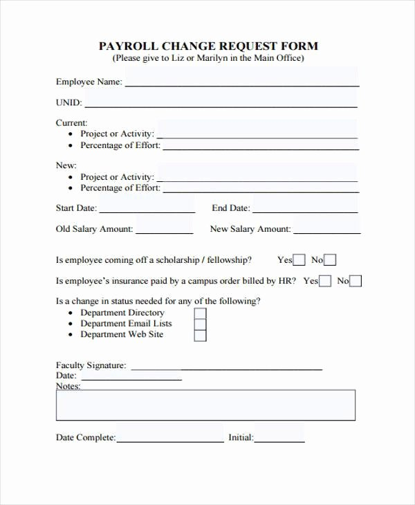 Sample Change Request form Luxury Printable Payroll forms