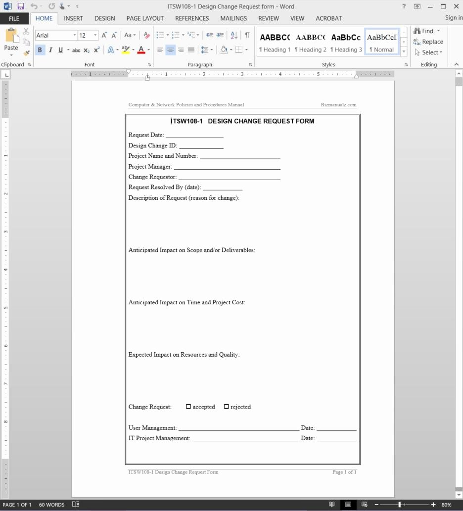 Sample Change Request form New Change Request Template