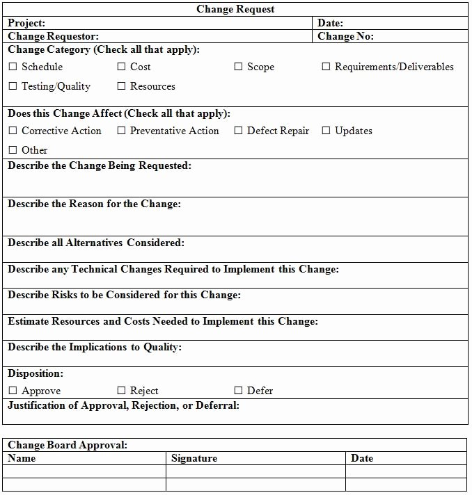 Sample Change Request form New Change Request Template Project Management Docs