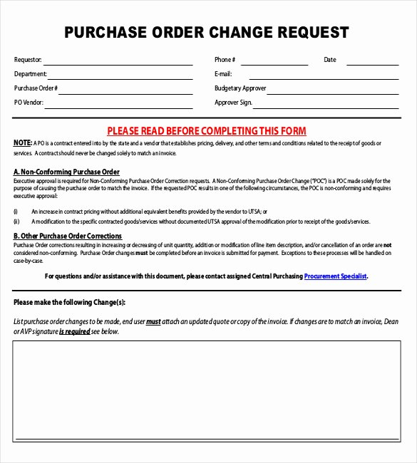 Sample Change Request form Unique 16 Change order Templates Word Pages