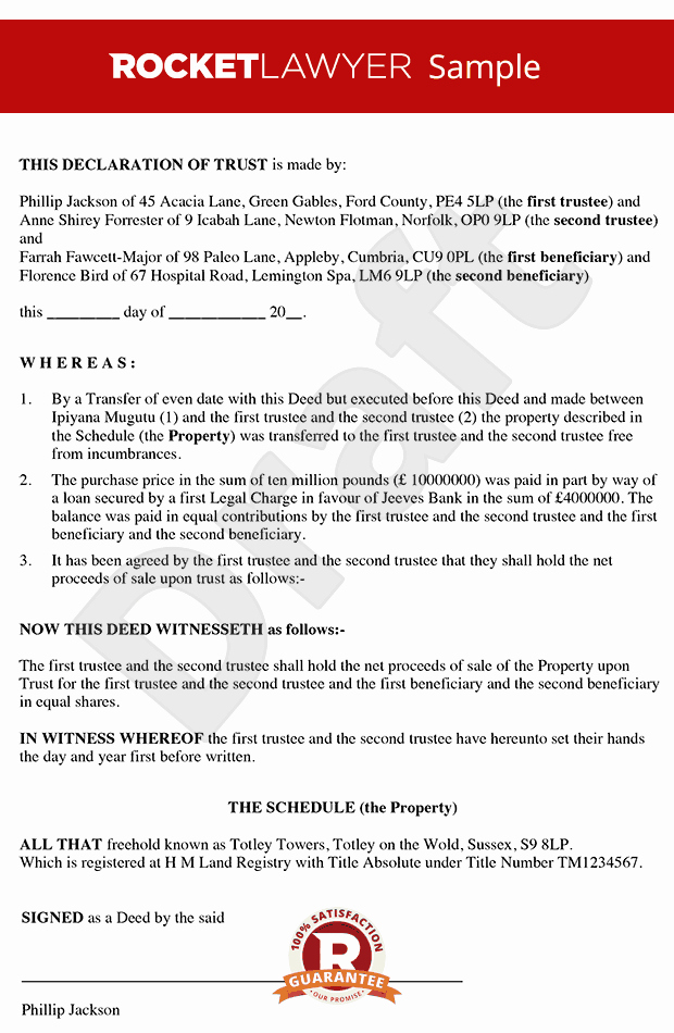 Sample Co Ownership Agreement Elegant Declaration Of Trust Tenants In Mon Agreement Deed