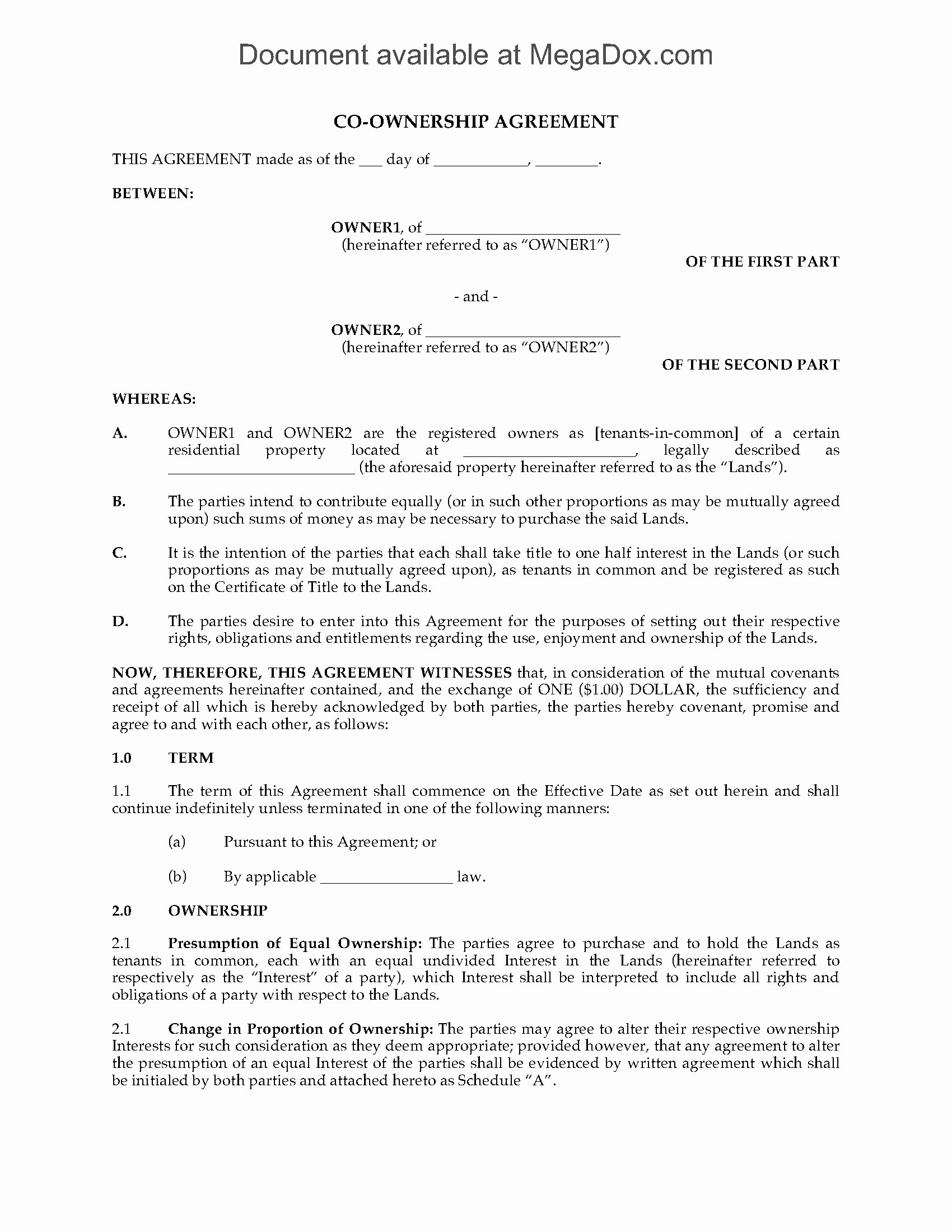 Sample Co Ownership Agreement Fresh Land Co Ownership Agreement