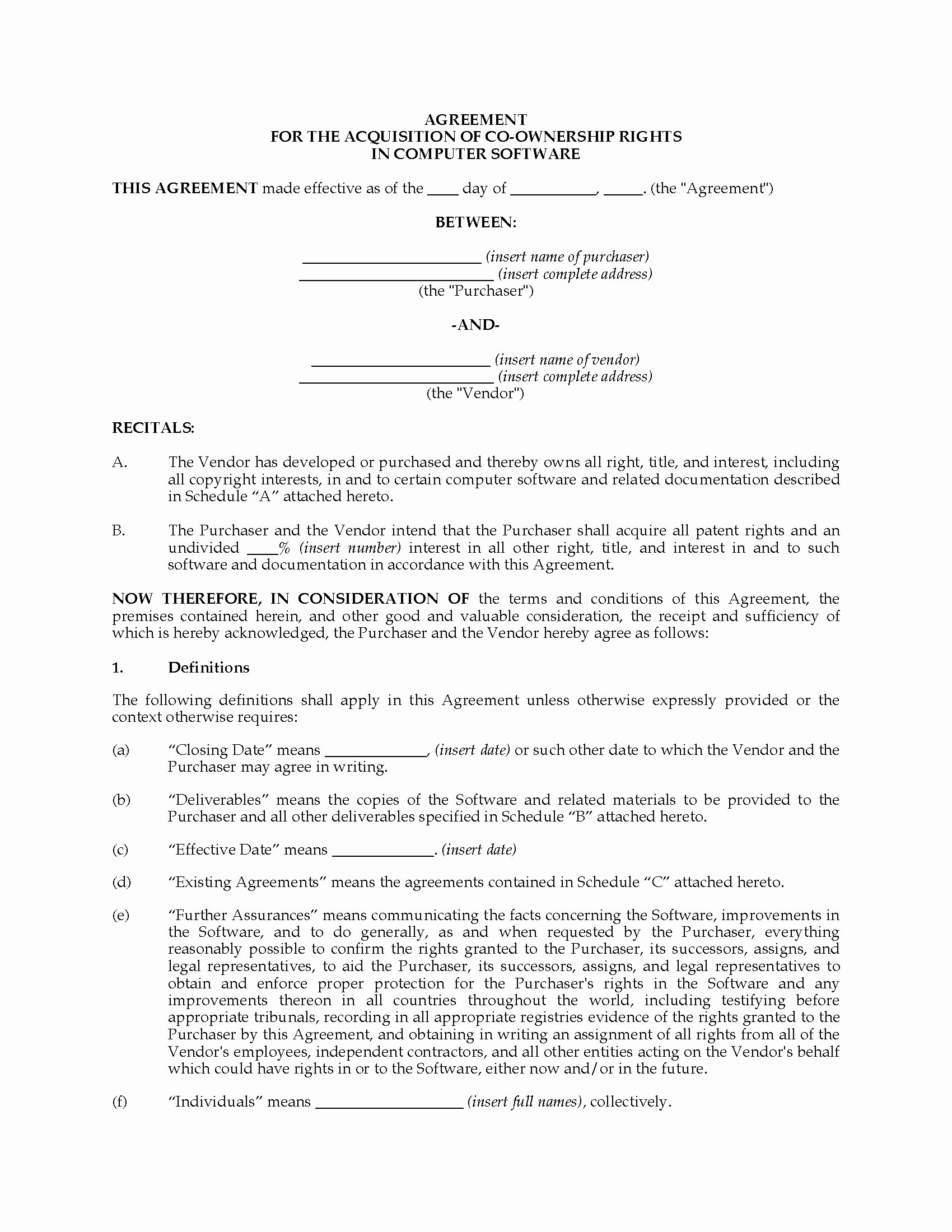 Sample Co Ownership Agreement Luxury Ownership Agreement