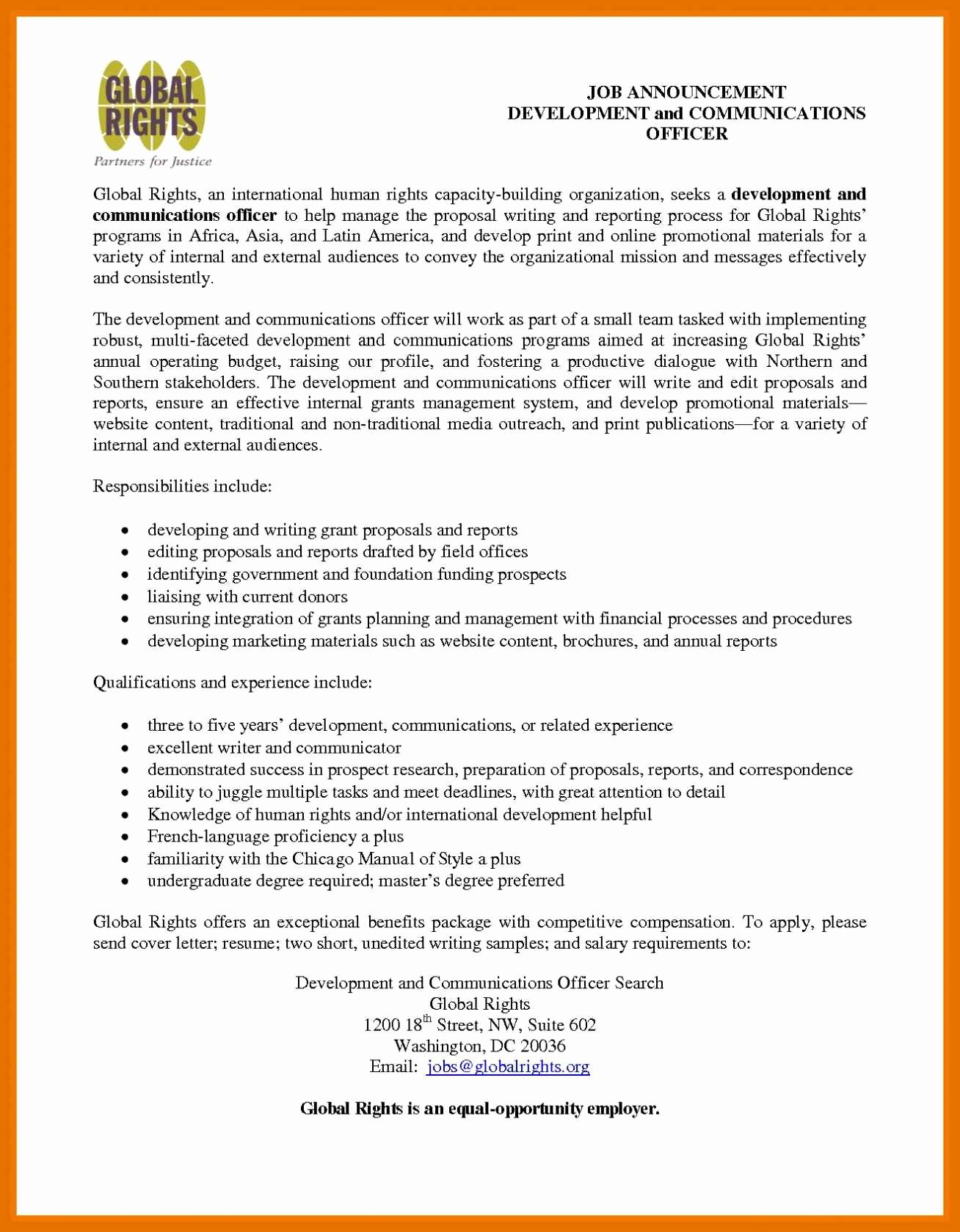 Sample Cover Letter for Grant Proposal New 10 11 Funding Proposal