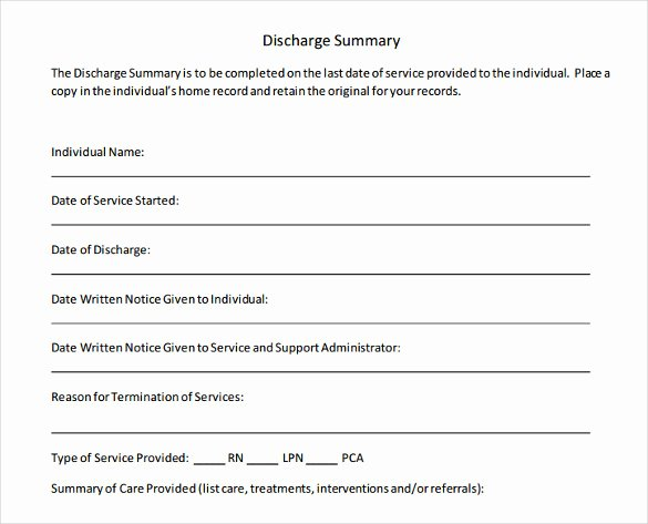 Sample Discharge Summary Awesome Sample Discharge Summary 13 Documents In Word Pdf