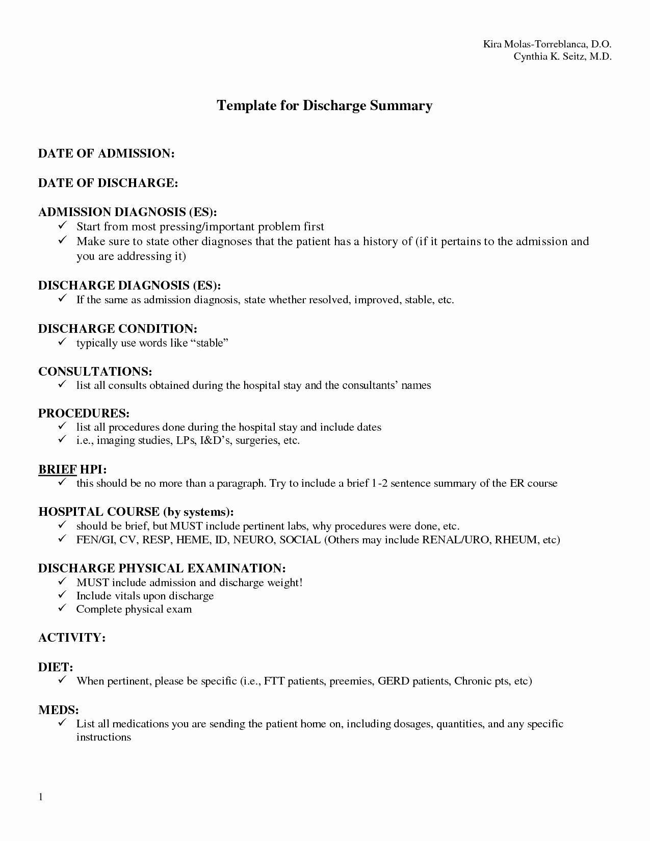 Sample Discharge Summary Fresh Discharge Summary Template