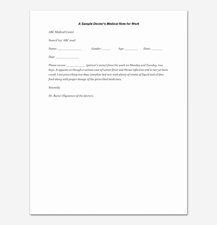 Sample Doctors Excuse Elegant Medical Note Template 30 Doctor Note Samples