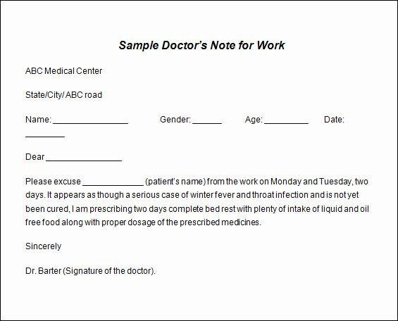 Sample Doctors Excuse Inspirational 36 Doctors Note Samples Pdf Word Pages