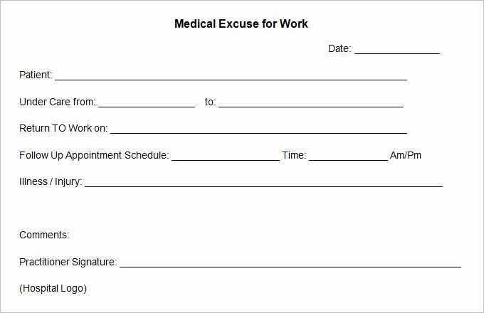 Sample Doctors Excuse Inspirational 9 Doctor Excuse Templates Pdf Doc