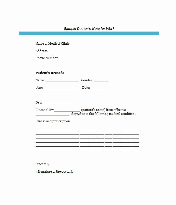 Sample Doctors Excuse Luxury 25 Free Doctor Note Excuse Templates Template Lab