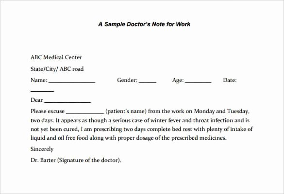Sample Doctors Excuse New 31 Doctors Note Templates Pdf Doc
