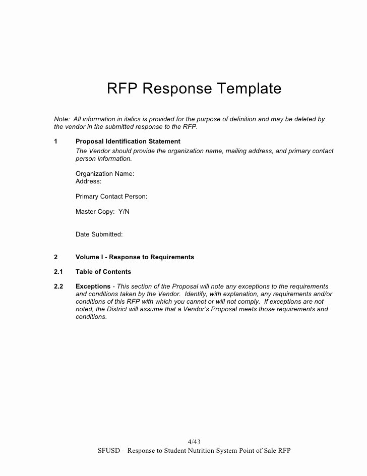 Sample Email for Proposal Submission Elegant Sns Pos System Rfp Response Template