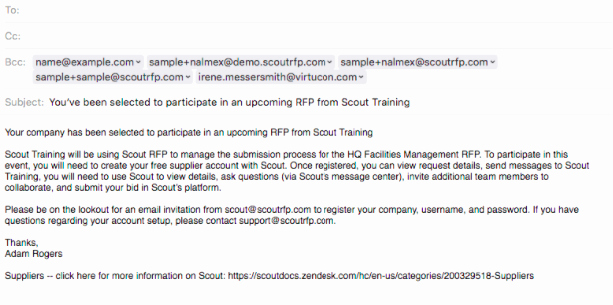 Sample Email for Proposal Submission Fresh Send Introductory Email to Suppliers – Scout Rfp