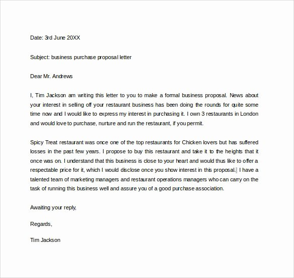 Sample Email for Proposal Submission New Business Purchase Proposal Letter