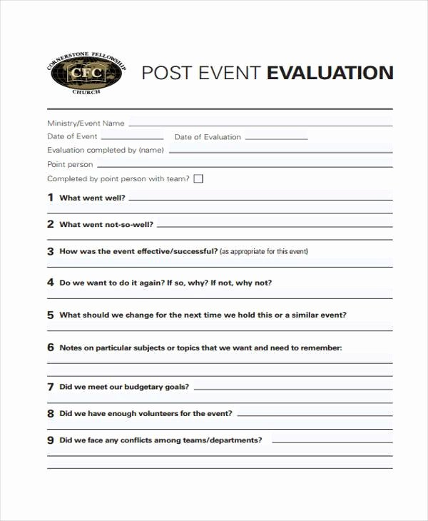 Sample event Evaluation form Beautiful 8 event Evaluation form Samples Free Sample Example