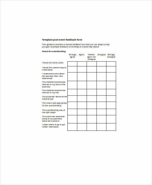 Sample event Evaluation form Beautiful 9 Sample event Feedback forms