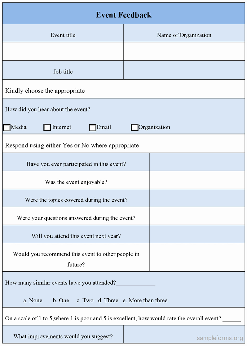 Sample event Evaluation form Inspirational event Feedback form Sample forms