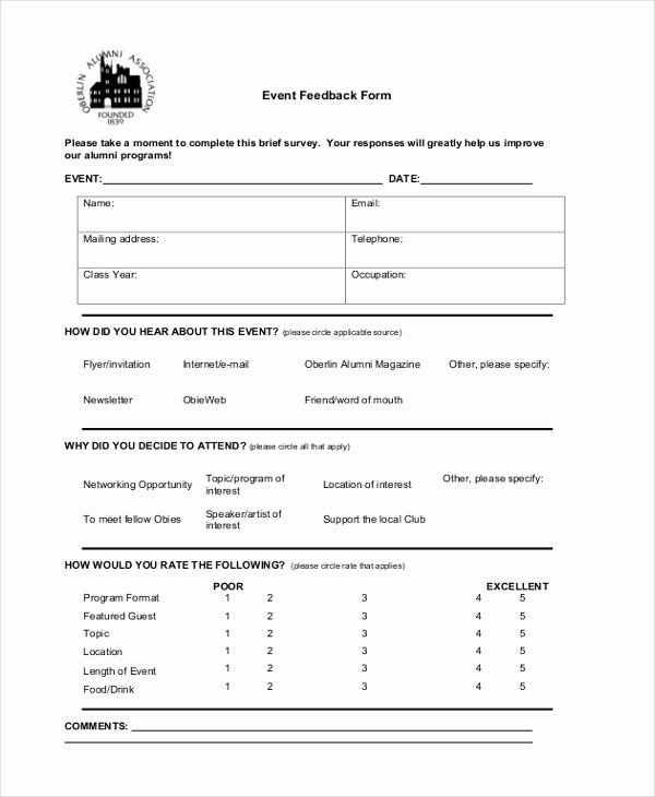Sample event Evaluation form New Sample event form 21 Free Documents In Pdf Doc