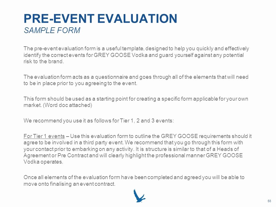 Sample event Evaluation form Unique Grey Goose Vodka Local Market event Resource Book Ppt